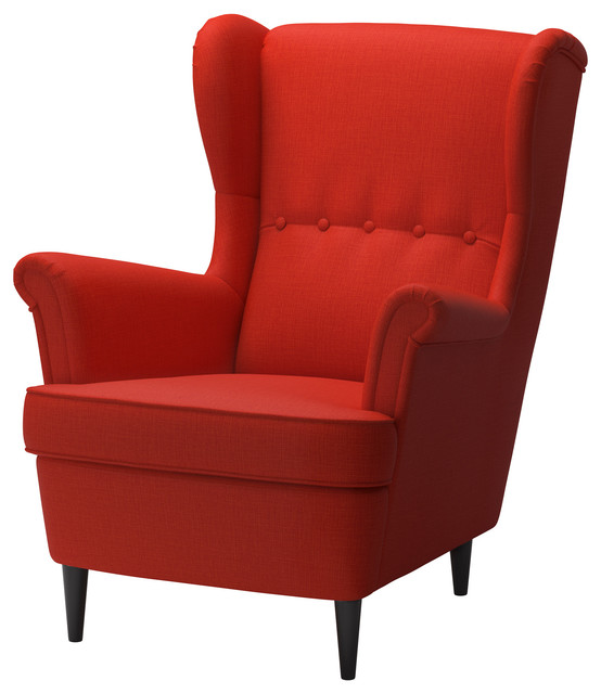 Accent Seating Orange Accent Chair With Contemporary: Strandmon Wing Chair, Skiftebo Orange