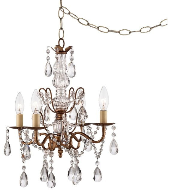 Lovell Crystal 15 Wide Gold Plug In Swag Chandelier