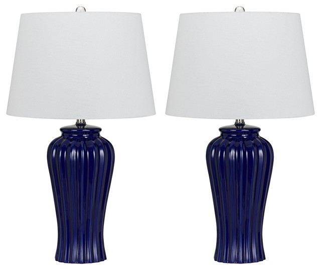navy blue ribbed ceramic table lamp set of 2 contemporary table lamps. Black Bedroom Furniture Sets. Home Design Ideas