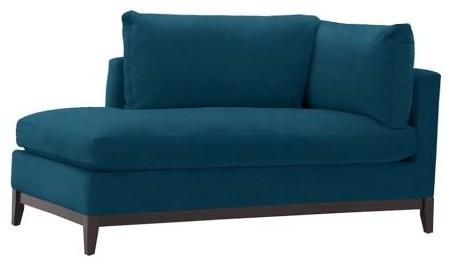 Blake chaise performance velvet lagoon modern indoor for Blue velvet chaise lounge