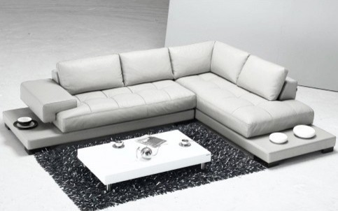 Tosh furniture modern white leather sectional sofa tos for Lsf home designs furniture
