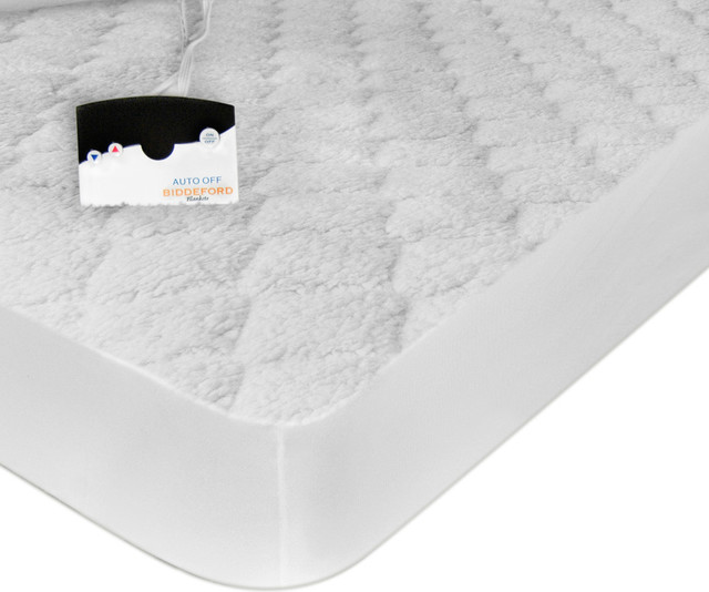 Electric Heated Quilted Mattress Pad With Sherpa King