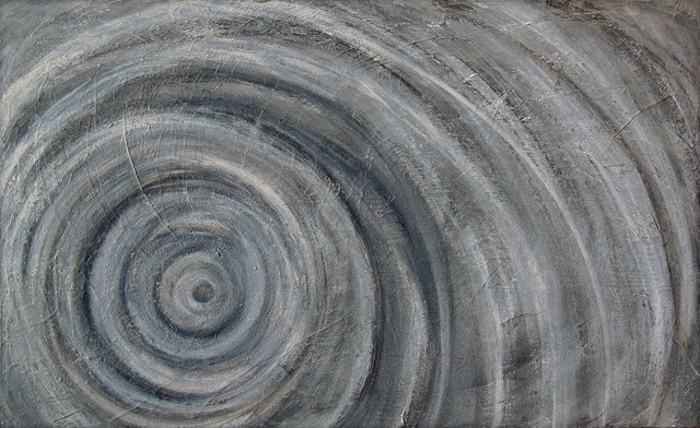 Heavily Textured Black And White Contemporary Abstract