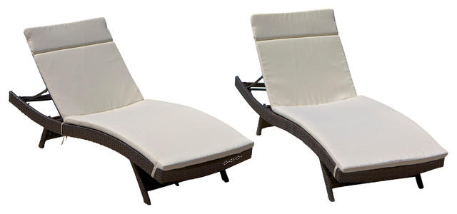 Lakeport Outdoor Adjustable Chaise Lounge Chairs With Cushion, Set of 2 - Con...