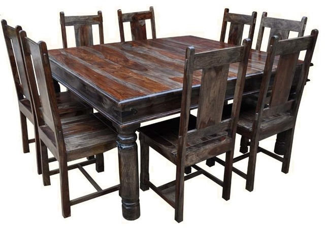 Rustic Square Large Solid Wood Dining Table Chair Set Furniture Rustic Di