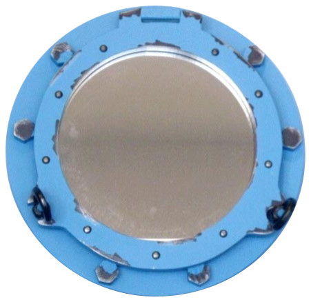 Wooden rustic distressed porthole mirror blue 14 for Porthole style mirror