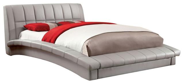 Padded Leatherette Full Size Platform Bed Contemporary Platform Beds