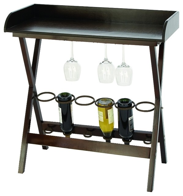 style wood metal tray table 6 bottle wine rack kitchen bar