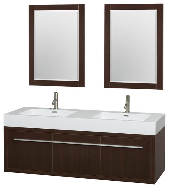 Axa wall mounted double bathroom vanity espresso 60 inch - Reasonably priced bathroom vanities ...