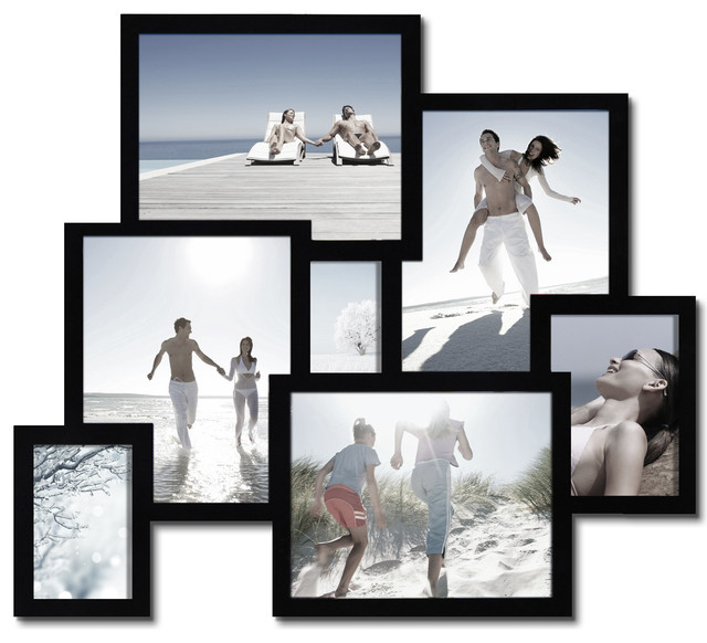 Adeco 7 opening collage picture frame contemporary for Modern collage frame