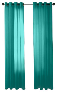 Hlc Me Pair Of Sheer Window Curtain Grommet Panels Aqua