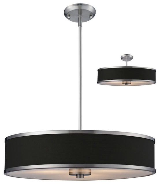 three light brushed nickel chocolate shade drum shade. Black Bedroom Furniture Sets. Home Design Ideas