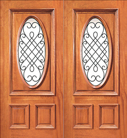 Prehung mahogany insulated oval lite exterior double door for Insulated entry door