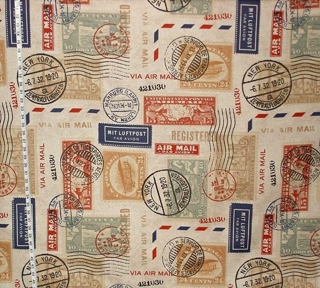 Travel fabric postage stamp mail Midcentury Fabric