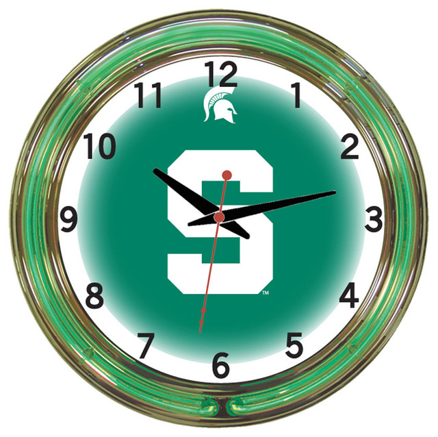 Michigan State Spartans 18 Wall Clock With Neon Lights - Contemporary - Novelty Lighting - by ...