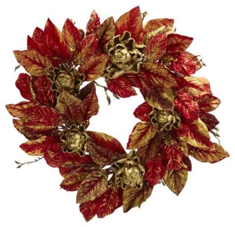 24 Inch Burgundy and Gold Artichoke Wreath Modern Home
