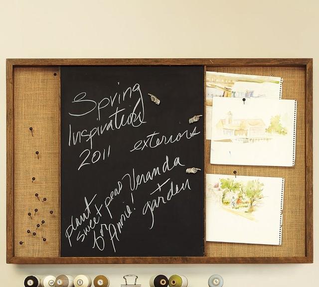 Rustic Wall Organizer, Sliding Pin Board/Chalkboard - Contemporary - Bulletin Boards And ...