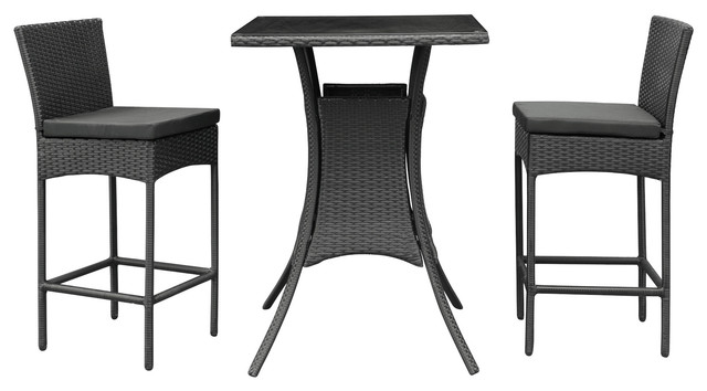Cerveza Black Rattan Pub Table And Two Chairs Outdoor Dining Set Contempora