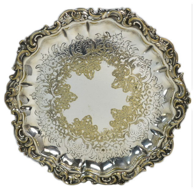 Consigned Silver Plated Small Serving Tray on Feet ...