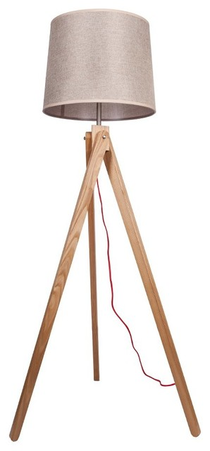 Modern Style Wooden Floor Lamp With Tripod Shape Base
