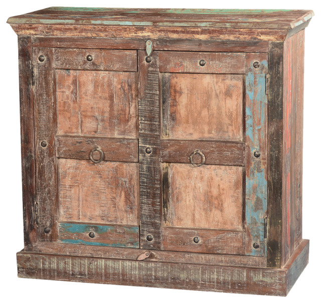 Rustic Gothic Sunrise Reclaimed Wood Freestanding Cabinet - Eclectic - Storage Cabinets - San ...