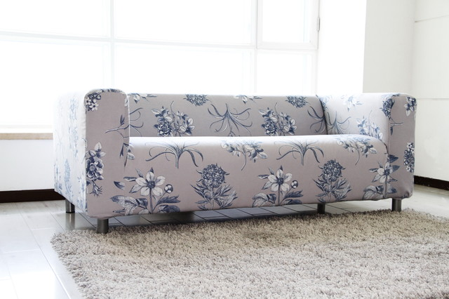 custom floral velvet sofa cover for the ikea klippan 2. Black Bedroom Furniture Sets. Home Design Ideas