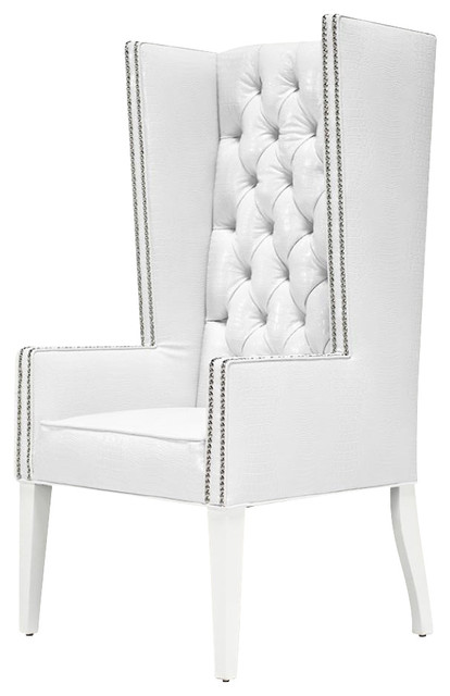 mod wing dining chair faux white crocodile leather