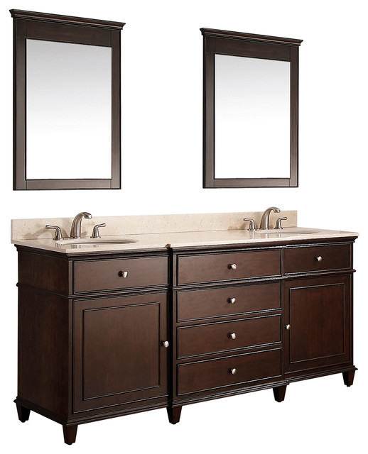 61 Cesarina Double Sink Vanity Walnut Traditional Bathroom Vanity Units Sink Cabinets
