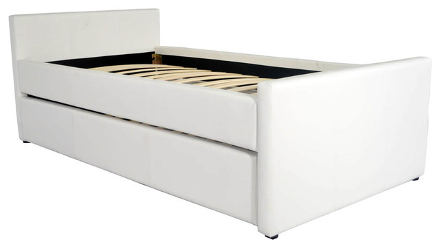 Duette twin xl bed with trundle white modern platform beds