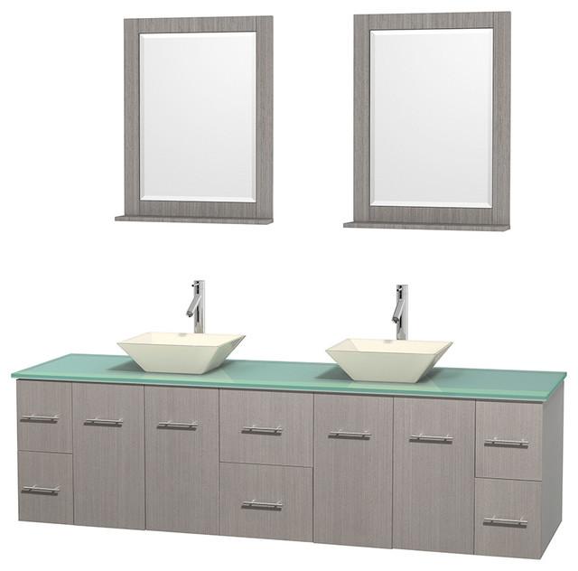 Centra 80 grey oak dbl vanity green glass top bone - Muebles de lavabo ...