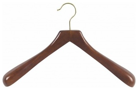 Deluxe Wooden Coat Hanger, Walnut/Brass Finish, Box of 12 ...