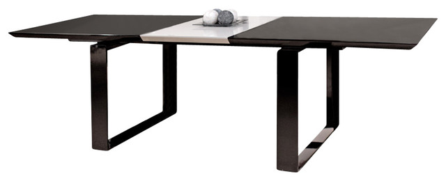 Modern Black Lacquer Table With Gray Lacquer Extension Modern Dining Tables