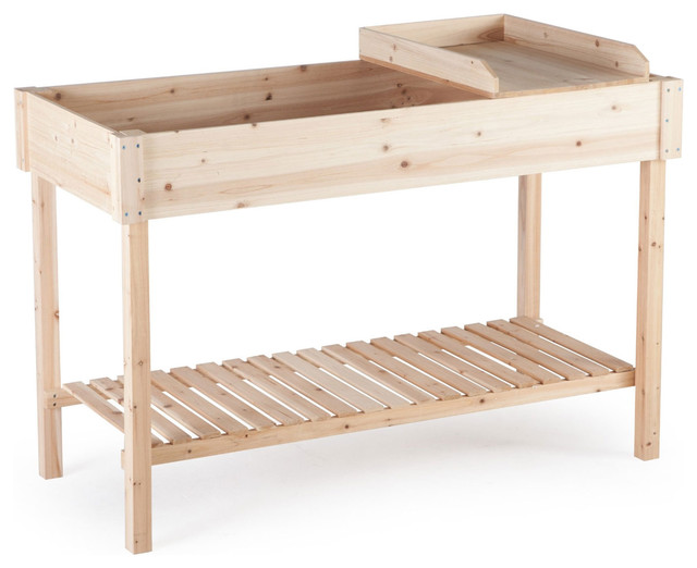 Potting Bench Garden Planting Table Unfinished Cedar Wood Farmhouse Potting Benches By