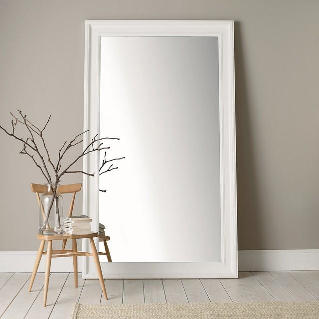 Portland wide full length mirror white traditional for White full length mirror