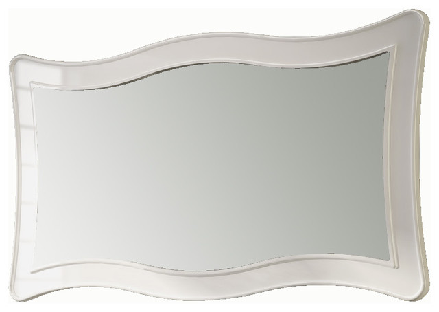 Ondas 59 Framed Mirror White Eclectic Bathroom Mirrors Miami