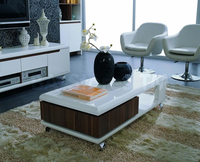 Zino Modern White And Walnut Coffee Table Modern Coffee Tables