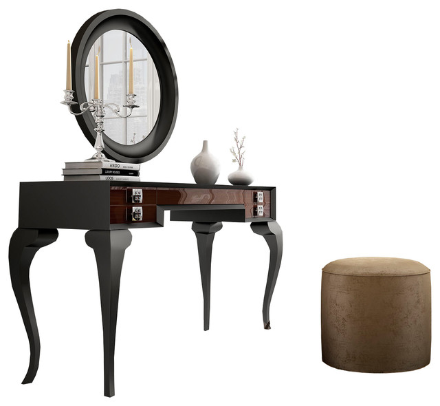 T16 Bedroom Make Up Vanity 55 Black Brown Glossy Finish Contemporary