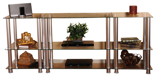 glass and aluminum lcd plasma tv stand 75 inch width contemporary entertainment centers. Black Bedroom Furniture Sets. Home Design Ideas