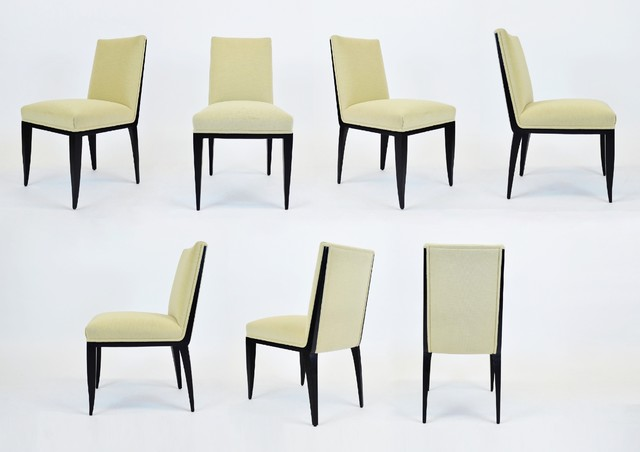 Set Of 7 Christian Liaigre Dining Chairs W Tan Upholstered