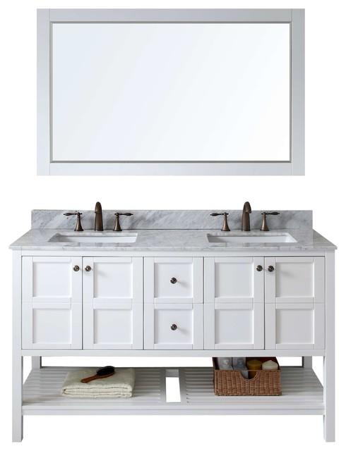 Winterfell  Double Bathroom Vanity Cabinet Set White Transitional Bathroom Vanities And