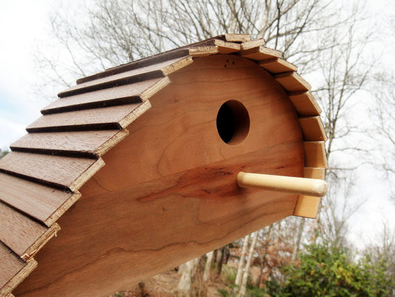 Unique ready to paint wood birdhouse by wood dork for Creative birdhouses