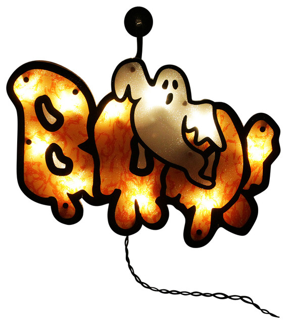 Lighted boo sign with ghost halloween window silhouette for 16 lighted snowflake christmas window silhouette decoration