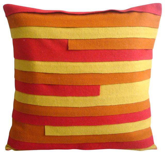 Modern Felt Pillows : Orange Felt 14