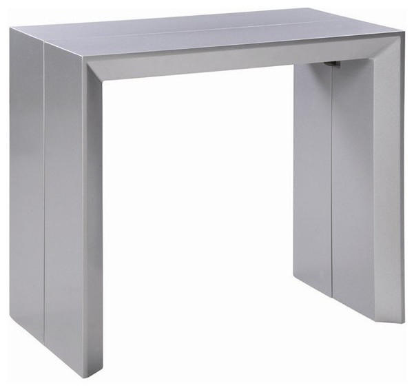 Console extensible en table repas extenso deluxe gris for Table extensible gris clair
