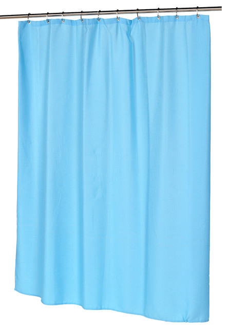 waffle weave polyester curtain in light blue