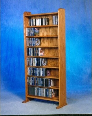 The Wood Shed Solid Oak 8 Shelf 495 CD Media Cabinet modern-storage ...
