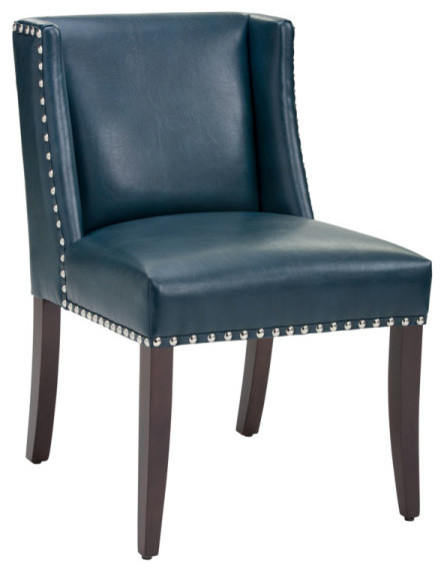 Low back wing dining chair in bonded leather blue leather for Modern low back dining chairs
