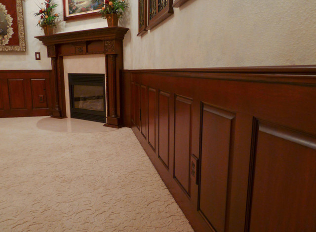 Mahogany Raised Panel Wainscoting Dining Room