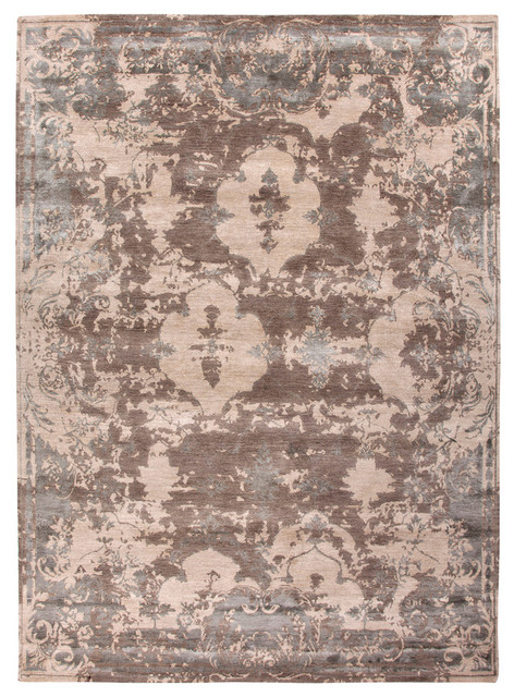 Jenny Jones Global Dark Taupe and Dark Ivory Hand Knotted Rug Farmhouse R