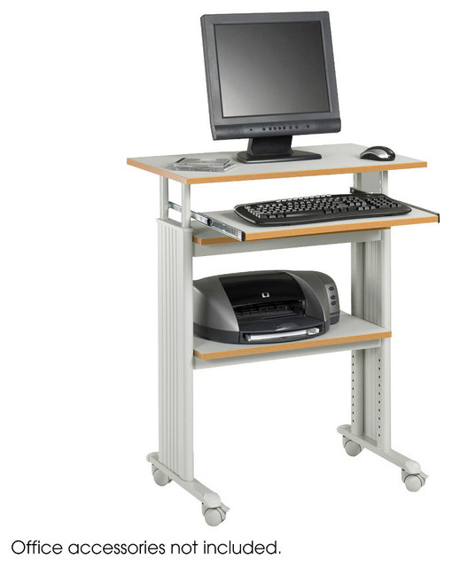 Muv Stand-up Adjustable Height Workstation - Grey modern-desks-and-hutches